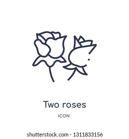 two roses icon from nature outline collection. Thin line two roses icon isolated on white background.