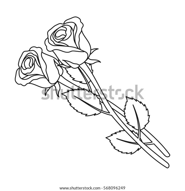 Two roses icon in outline style isolated on white background. Funeral ceremony symbol stock vector illustration.