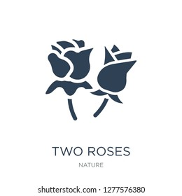 two roses icon vector on white background, two roses trendy filled icons from Nature collection, two roses vector illustration