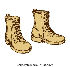 Two rough old reliable forces male boots isolated on white background. Freehand outline ink hand drawn picture sketchy in scribble retro cartoon style pen on paper. Closeup view