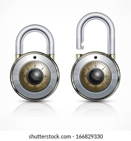 Two round metallic code padlock isolated on white, vector illustration