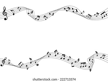 Two row of musical notes and chords. Musical notes rounded corners style. A vector illustration.