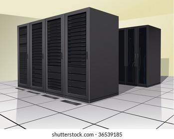Two rows of rack, or enclosures, containing computer equipment.