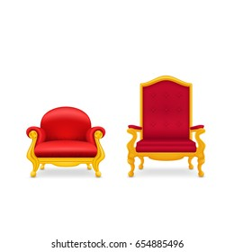 Two royal armchairs of gold. Red throne. Isolated on white background.