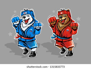 Two Russian bears wrestler isolated on background. Brown and polar bears in red and blue tracksuit. Vector illustration.