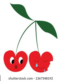 Two sad cherry fruit vector or color illustration