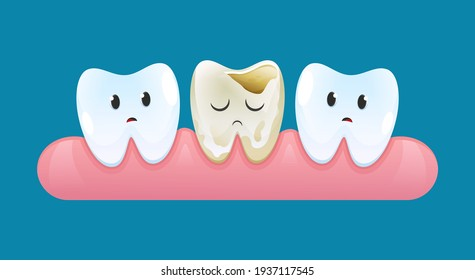 Two sad teeth on gum look at a tooth with caries. Vector cartoon style.