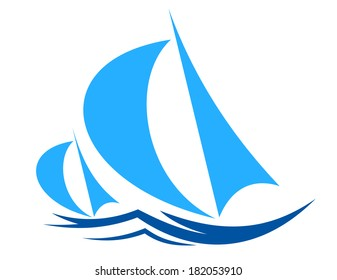 Two sailboats or yachts racing logo on ocean waves with billowing sails in shades of blue in a nautical theme for sports or travel design