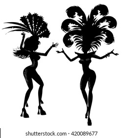 Two samba dancers silhouette. Vector illustration