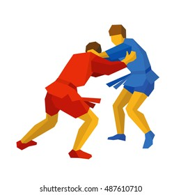 Two sambo fighters in blue and red uniform. Martial arts competition - sambo, judo, karate, jiu jitsu, wrestling. Flat style vector clip art isolated on white background.