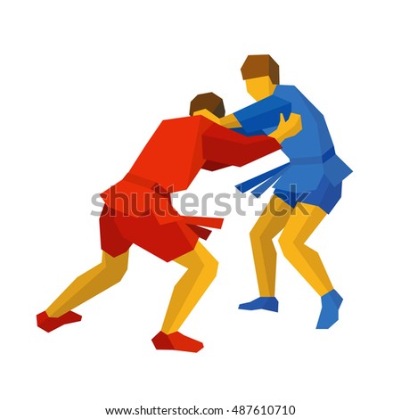Two sambo fighters in