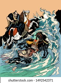 Two samurai horsemen crossing a stormy sea. One warrior with a black horse swimming in water, another man rider on land riding white horse. Graphic style vector illustration