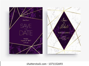 Two Save the Date card template. Geometric design. Set of Invitation to a wedding party. White and purple marble background and golden geometric pattern. Dimensions 5x7 inch.