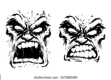 two scary faces rage fury vector illustration