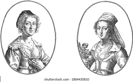 Two scenes on an album page. On the left the courtesan Margo de la belle Gantiere, the wife of a glove maker, and on the right Anna la Bavolette with flowers in her hand, vintage engraving.