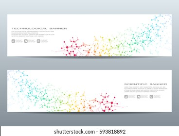 Two scientific banner. Molecular structure of DNA and neurons. Geometric abstract background. Medicine, science, technology, business and website templates. Vector illustration.