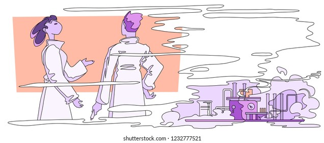 Two scientists discussing the research in front of blackboard while the chemical experiment is in progress. Vector illustration with place for text.
