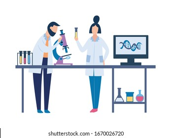 Two scientists in science laboratory doing chemistry research. Man and woman cartoon characters doing lab test with microscope and other equipment on table - isolated vector illustration
