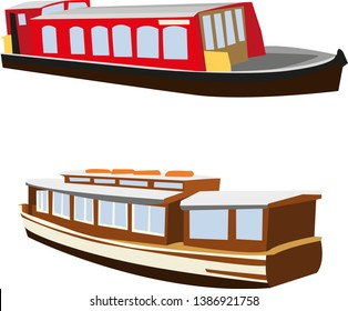 Two Scottish canal boats, narrowboats