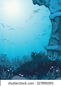 Two scuba divers and coral reef with school of fish on a blue seascape. Underwater vector illustration.