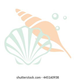 Two sea shells with pearl isolated on a white background. Summer, sea. Vector illustration on the marine theme.