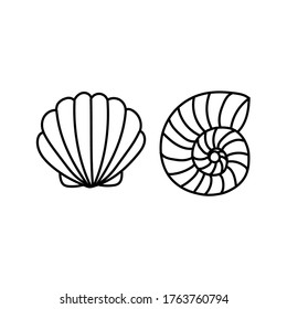 Two seashells. Monochrome vector illustration in doodle style. Contour icons, badges.