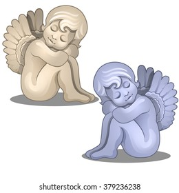 Two seated statues of angels. Vector.