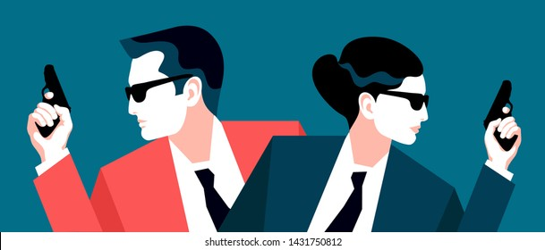 Two secret agents, spies, security guards or policemen. Male and female characters with guns. Vector illustration