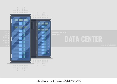Two server rack with server equipmentinside. Server farm, data center horizontal banner concept on grey background