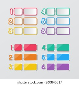 two set of blank colorful paper speech bubbles and 1-6 number buttons in flat style. vector.