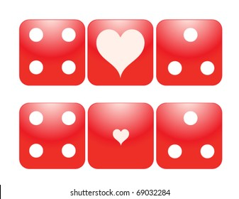 Two sets of Gambling Dice with large and small Hearts.Perfect for Valentine theme. eps 10