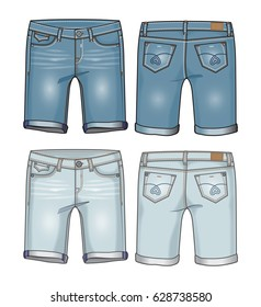 Two shades of denim women's knee length shorts