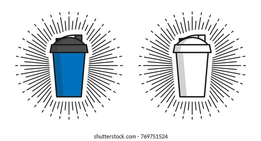 Two shakers vector illustration. Shakers for protein and sports nutrition line art creative concept.