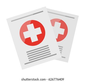 Two sheets with medical information, one over other, on them on white background. Big white cross on red circle and inscriptions. Medical certificates from doctor isolated vector illustration.