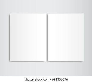 Two sheets white blank template. Two sheets white folder template. Blank closed magazine newspaper vector mockup magazine template vector