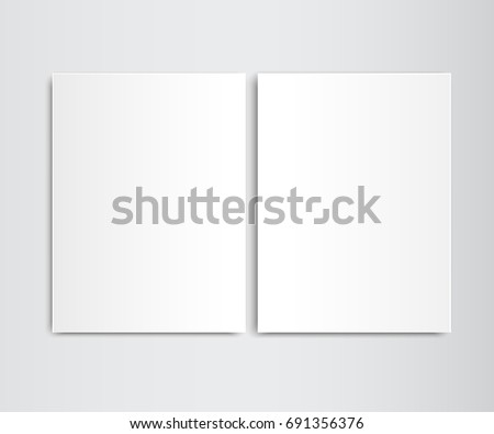 Two Sheets White Blank Template Folder Closed Magazine Newspaper