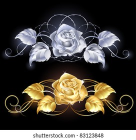 two shiny, gold rose, gold and silver on a black background
