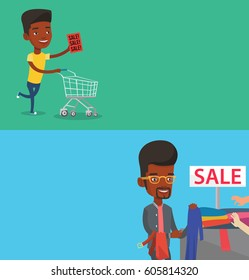 Two shopping banners with space for text. Vector flat design. Horizontal layout. Man running on big sale. African man holding paper sheet with sale text. Man with shopping trolley running on sale.