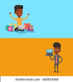 Two shopping banners with space for text. Vector flat design. Horizontal layout. African man using laptop for online shopping. Man holding laptop with shopping trolley. Man doing online shopping.