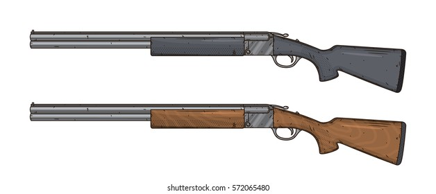 Two shotguns, vector illustration isolated on white background. Hunting gun