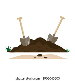 Two shovels and soil. Garden tools. The concept of spring, field and agricultural and construction work. Earth, dirt and tools to dig a hole. Vector image. Flat style.