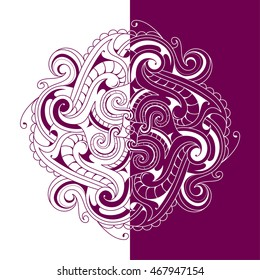 Two side ornament as graphic design element. Good for greeting cards and menu