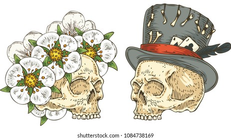 Two Side View Voodoo Skull in Love. White Flower Wreath and Old Gray Hat with Feather. Hand Drawn Illustration