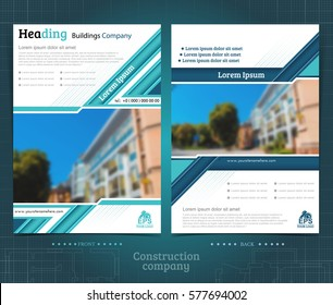 Two sided brochure or flayer template design with exterior blurred photo ellements. Mock-up cover in blue vector modern style