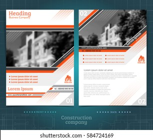 Two sided brochure or flayer template design with buildings exterior blurred black-white photo elements. Mock-up cover in orange vector modern style