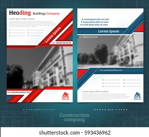 Two sided brochure or flayer template design with exterior blurred photo elements. Mock-up cover in blue and red vector modern style