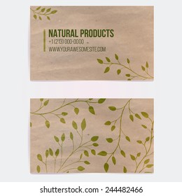Two sided business card for natural cosmetics store or other eco friendly product. Hand drawn on craft paper branches and plants. Vector template.