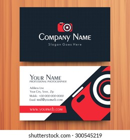Two sided presentation of professional business or visiting card design on wooden background.