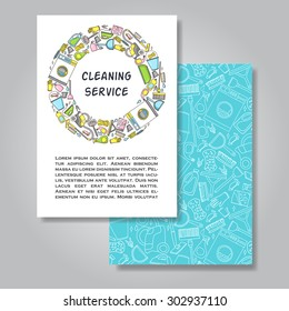 Two sides invitation card design with cleaning equipment illustration background. Vector design template for card, letter, banner, flyer.Can by used  to promote your products and services.