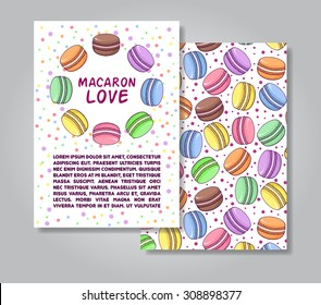 Two Sides Invitation Card Design With Macaroon Illustration And Pattern Background Vector Template For